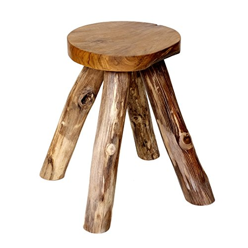Brillibrum Design teakhouten kruk - houten kruk tuinstoel Schemel van teak badkruk van massief hout kruk 45 x 27 x 24 cm (H x B x D)
