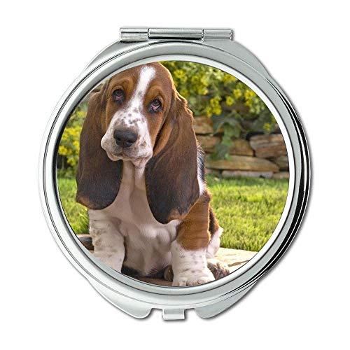 Yanteng Spiegel, Travel Mirror, Pet Friendly Basset Hound, Taschenspiegel, 1 X 2X Vergrößerung