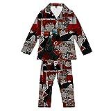Pijamas,Anime Ninja Loungewear Set Ropa De Dormir Unisex para Hombres Ropa De Dormir Cómoda De Manga Larga con Botones Mezcla De Colores M