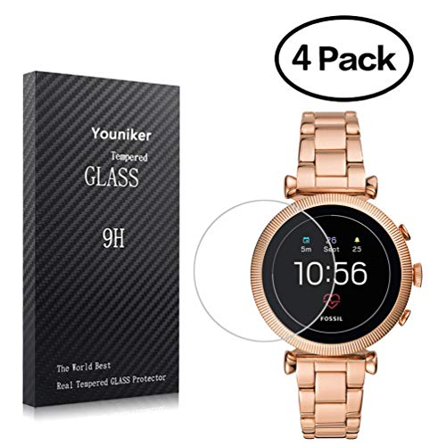 Youniker 4 Pack voor Fossiele Sloan HR Screen Protector Gehard glas voor Fossiele vrouwen Gen 4 Sloan HR Smartwatch Screen Protectors Cover 9H 0.3MM Anti-Scratch Anti-vingerafdruk Bubble Free