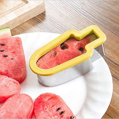 Cooking fruit groente vormige snijwerktuigen mes ijs watermeloen roestvrij staal, Kleur: Geel (Color : Yellow)