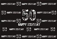 Qinunipoto 2.1m x 1.5m ビニール背景布 写真撮影用父素晴らしい50歳誕生日おめでとう写真を撮るお祝いパーティーデコレーション写真撮影の背景母50歳誕生日祝う黒い背景ポートレートフォトスタジオブース背景小道具