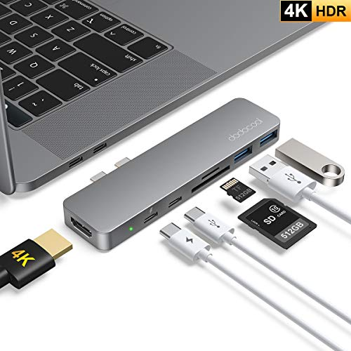 HUB USB C, dodocool 7 in 1 Adattatore MacBook Air/Pro 16'/13'/15', con 4K HDMI, Thunderbolt 3, 2 Porte USB-C/USB 3.0, Slot Scheda SD/TF, per MacBook Pro 2019/2018/2017, MacBook Air 2019/2018