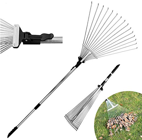 DVCOM 63 inch Adjustable Garden Rake for Leaf - Collect Loose Debris Among Delicate Plants - Lawns and Yards, Best Expandable Head rake for Leaves - Small to Large rake for Gardening