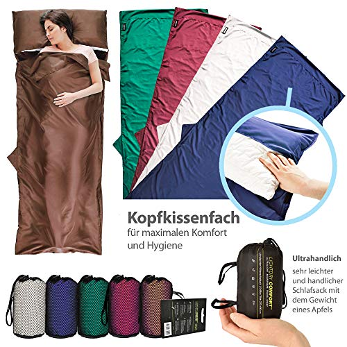 LightDry Hüttenschlafsack aus Mikrofaser Schlafsack Inlett Reise-Schlafsack Inlay. Ideal als Ultra Leichter Mumienschlafsack für Hostel, Berghütte und Jugendherberge; Braun