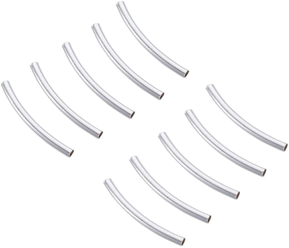 3mm 4mm Sterling Silver Square Tube Beads,silver curved tube bead,Silver spacer tube,tube spacers
