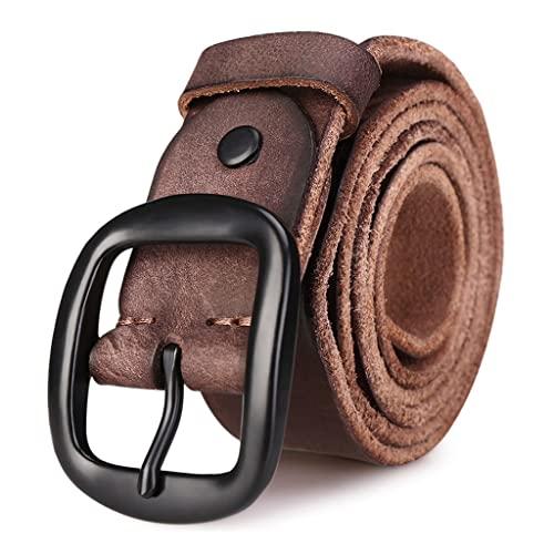 zdz Cinturón de Cuero for Hombres,1.5'Pin de aleación marrón Hebilla Reversible Agujero expandido Cinturón Simple,Pantalones Vaqueros Casuales for Hombre. (Color : Brown, tamaño : 45.3 inchs)