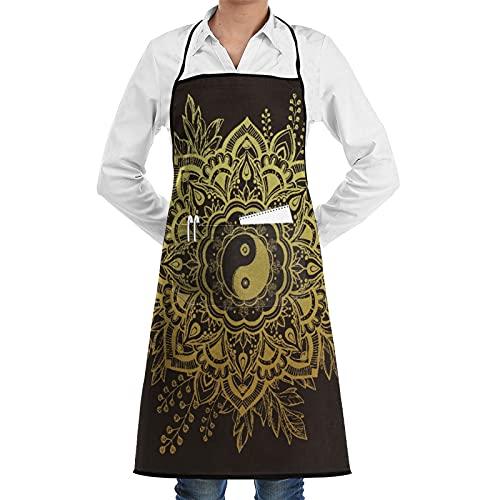 LOSNINA Delantal de cocina impermeable para hombres delantal de chef para mujeres restaurante de jardinería BBQ cocinar ,Flor de jardín en corona de hojas Símbolo de Yin y Yang Ramitas Floraciones