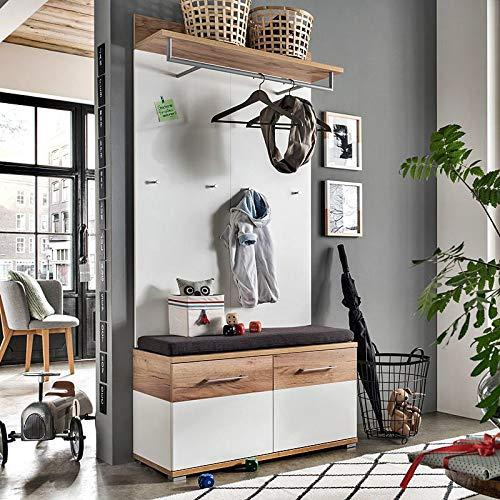 Lomadox Flur-Garderoben-Set in weiß, Navarra - Eiche - Nb, inkl. Garderobenpaneel