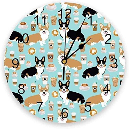 youmengying Co.,ltd Wanduhr Tierhund Corgi Getränk Wanduhr Hauptschlafzimmer Stille Uhr Uhr Wand Für Küche Wohnzimmer Wand Digitaluhr-30X30Cm