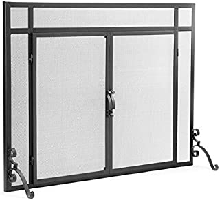 Plow & Hearth Small Flat Guard Fireplace Screen with Doors, Handcrafted Solid Steel, Heavy Duty Metal Mesh, Adjustable Feet, Powder Coat Finish, Free Standing Spark Guard 39 W x 31 H, Black