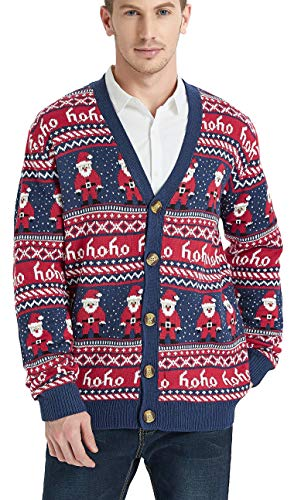 Daisyboutique Men's Christmas Rudolph Reindeer Holiday Sweater Cardigan Cute Ugly Pullover (Large, Santa-Print-Cardigan)