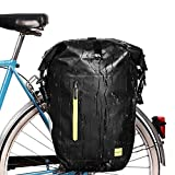 Yosoo Health Gear Bolsa Trasera Bicicleta, Alforja Bicicleta Plegable, Impermeable, 25L Gran Capacidad, Bolsa de Asiento Trasero para Bicicleta, Negro