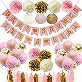 sancuanyi Babyparty Deko Mädchen, Rosa und Gold Baby Shower Dekorationen Es ist EIN Mädchen & Baby Shower Banner Pompoms Blumen Ball Papierlaterne Luftballons Folie Quaste