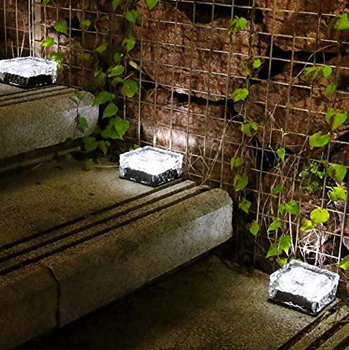 Luces Solares LED Exterior Jardin,4*4 in luz solar de ladrillo de cristal, sensor de luz, IP68 Impermeable Para Iluminación de caminos Patio Entrada de Garaje Césped Decoración Escalón(6 pc),White