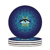 Wraill Sottobicchieri rotondi in ceramica con occhio blu, set da 4 e 6 sottobicchieri con retro in sughero, per bicchieri, tazza, bianco, 6 pezzi