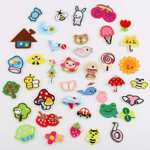 Iron on Patches/Sewing Patch,Patches for Clothes,Embroidery Applique,Used to Decorate DIY Repair Clothes and Gifts Candy Cherry Bee 39pcs