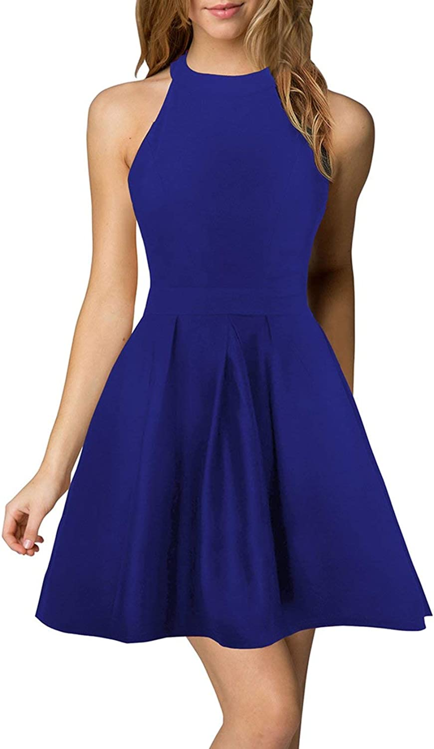 Berydress Women's Halter Neck Backless Royal bluee Cocktail Party Dress (US8, 6019_Royal bluee)