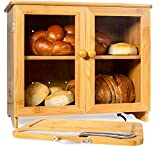 Luv UR Kitchen Large Bamboo Bread Box For Kitchen Countertop, Comes With Thick Bamboo Cutting Board And Stainless Steel Bread Knife. Rustic Bamboo Bread Box With Adjustable Shelf. (easy Self-assembly)