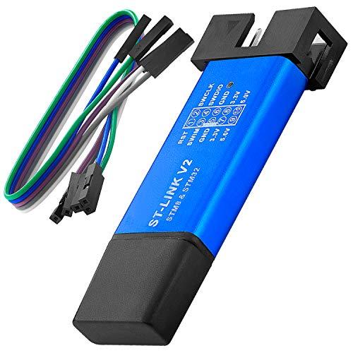 AZDelivery ST-Link V2 Emulator Downloader Mini-Depurador y Unidad de Programación STM8 STM32, 3.3V 5V, Soporte para Programador de Descarga con Jumper Wire F2F 20CM con E-Book incluido!