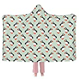 Flannel Wearable Blanket,Puffin Seabird,Robe Wrap Ultra Soft Throw Indoors Or Outdoors Hooded Blanket 50'X40'