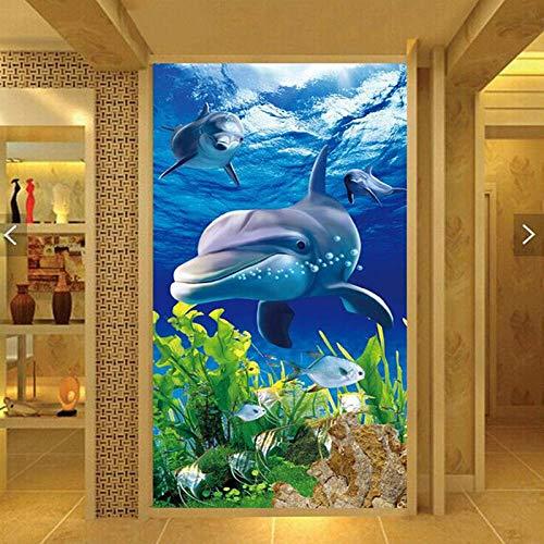 Msrahves Foto Mural Pared 3D Azul océano animales delfines 200X200CM Papel Pintado Fotográfico Fleece no-trenzado Salón Dormitorio Despacho Pasillo Decoración murales decoración de paredes moderna