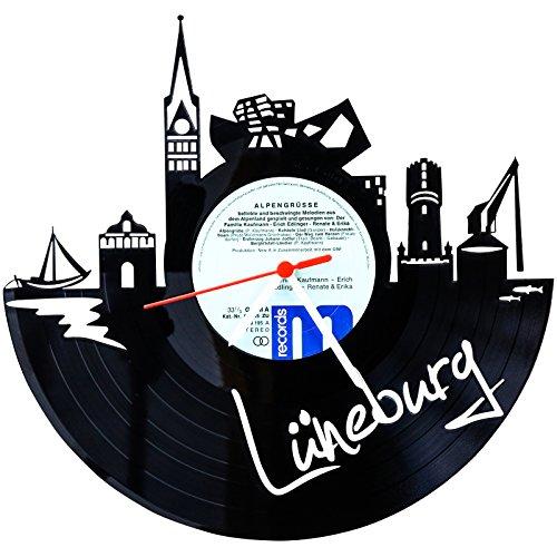 GRAVURZEILE Wanduhr aus Vinyl Schallplattenuhr Skyline Lüneburg Upcycling Design Uhr Wand-Deko Vintage-Uhr Wand-Dekoration Retro-Uhr Made in Germany