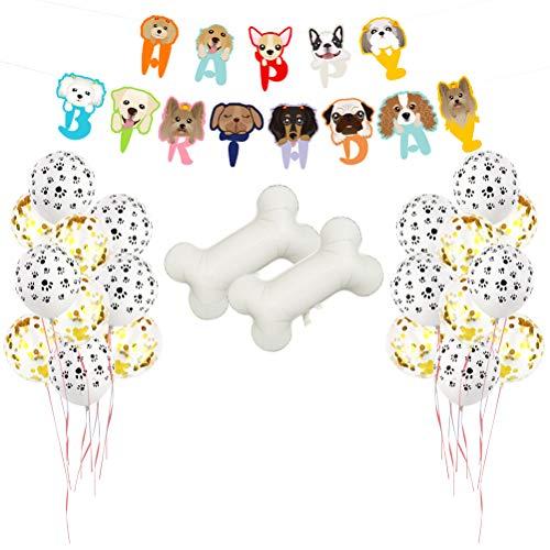 Amosfun 23 unids Perro Decoraciones de Fiesta de Cumpleaños de Látex Perro Pata Globos Globos de Confeti Forma de Perro Bandera Cachorro de Perro Temas de Decoración de Fiesta de Cumpleaños Temáticas