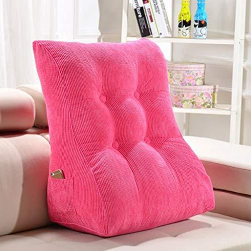 Cabeza de cama de almohada de triángulo Vieja mujer embarazada Cintura Volver Almohadilla de cintura Almohadilla de espalda grande Almohadilla trasera de lectura (45 * 30 * 55 cm Rosa Roja)