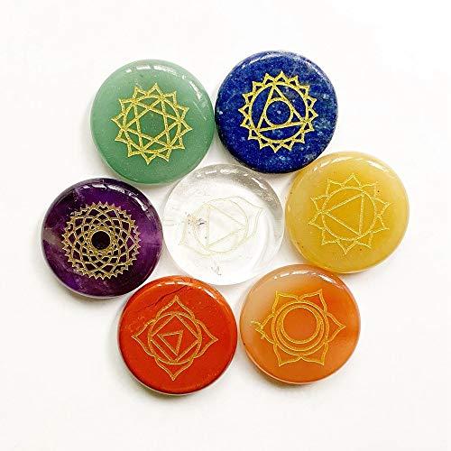 K-ONE Juego de 7 Piedras de Chakra, Piedras de Palma pulidas, Cristales Naturales, Juego de Chakra curativo, meditación Espiritual, Equilibrio energético, Piedra Redonda 25M