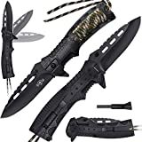 Pocket Knife - Tactical Folding Knife - Spring Assisted Knife with Fire Starter Paracord Handle -...