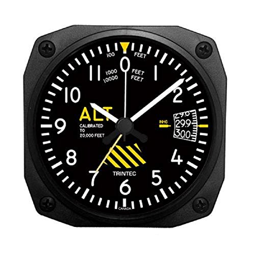 "Trintec 30 th Anniversary Aviation Altimeter Altitude Travel Alarm Clock 3.5"" DM60-SE"