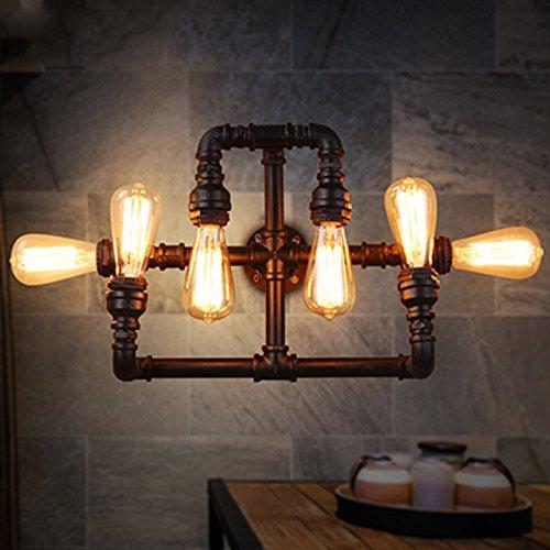 ZWL Loft Water Pipes Lampe murale Retro Living Room Restaurant Lampes créatives et lanternes Simple Bar Cafés Internet 6 Head E27 mode (Couleur : #1)
