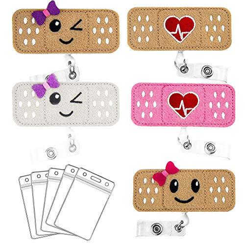 5 Pack Nurse Badge Reel Holder, Retractable Nurse RN Badge Holder Reel Clip Nurse Badge ID Clip Badge Reel Holder Nursing Name Badge Holder Felt Badge Reels with 5 ID card Holder for Nurses & Doctors