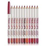 12 Varios colores Lip Liner Set Lápiz labial resistente al agua Lip Liner Pencil Lápiz delineador...