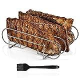Grilaz Spareribs Halter BBQ Grill, Braten und Rippchenhalter,Edelstahl Bratenkorb, Zum Grillen von Lammkoteletts, Steaks und Rippchen, Passend für Q 300/3000, Gas- und Kohlegrill,Spülmaschinengeeignet
