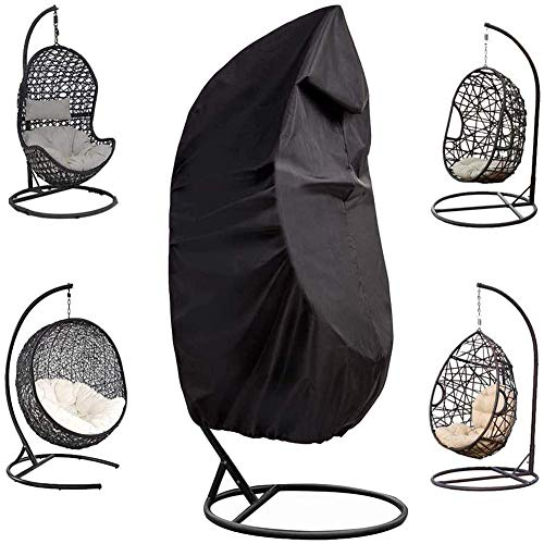 Patio Hanging Chair Cover with Heavy Duty Waterproof Windproof Oxford Fabric Outdoor Egg Chair Cover with Zipper Furniture Protective Cover,Black,small