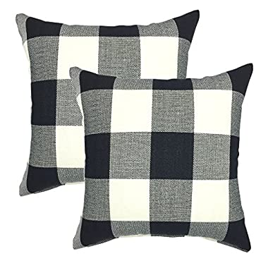 YOUR SMILE Retro Farmhouse Tartan Checkers Plaid Cotton Linen Decorative Throw Pillow Case Cushion Cover Pillowcase for Sofa 18 x 18 Inch, Set of 2, Black/White