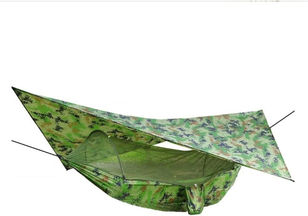 FEANG Hamaca de camping con lona de lluvia y red portátil de nailon para paracaídas para mochileros, senderismo, al aire libre (tamaño: 250 x 120 cm)