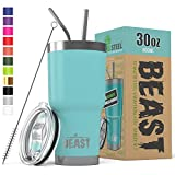 BEAST 30 oz Teal Tumbler Stainless Steel Insulated Coffee Cup with Lid, 2 Straws, Brush & Gift Box...