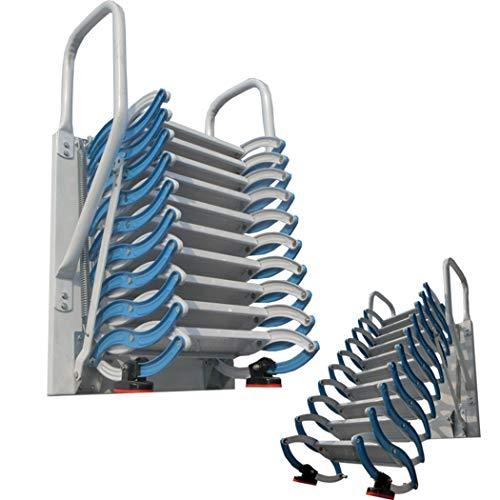 Escalera de ático de metal con barandillas Escalera de ático de aluminio de 2M-4M desplegable escalera plegable engrosada altura personalizable (B/M-3M,Aleación)
