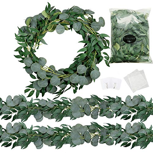 Trimgrace 2 Pack 6.5 Feet Artificial Silver Dollar Eucalyptus Leaves Garland with Willow Vines Leaves Greenery for Wedding Party Home Centerpiece Table Runner Greenery Arch Indoor Outdoor
