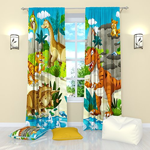 """Curtains for Kids Room by factory4me Cute dinosaurs. Panel (Set of 2) Window Curtains Drapes Nursery W84"""" x L84"""""""