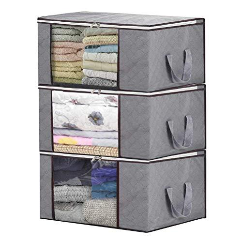 H.C Housecraft Organizzatore del Sacchetto di immagazzinaggio, Grande Indumento autosigillante a Due Vie Tole Finestra Trasparente Fondo di scatole Vestiti Coperta Coperta più 3 Set (Grigio)