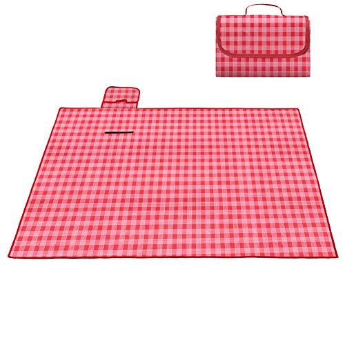 Extra Groß Picknickdecke Outdoor Stranddecke Mit wasserdichte Unterlage Für Reisen Camping Wandern Aktivitäten Rot Kariert 150x200cm(59x79inch)