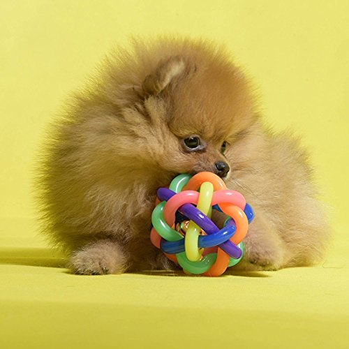 Pet Spielzeug Kreative Bunte Knitting Art Bell Ball for Haustier, hohe Elastizität, Starke Biss Widerstand Huangchuxin
