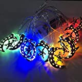 OUYAWEI LED Iron Art Star Moon Light Strings Ramadan Festival Decoration Hang Christmas Decoration Color 3 Meters 20 Lights Silver Star Month - Always Bright with Flash - Battery