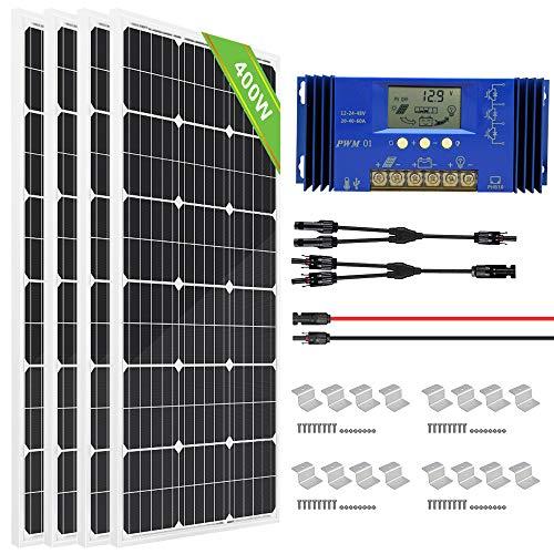 ECO-WORTHY 400 Watt Monocrystalline Solar Powered System Off Grid: 4pcs 100W Mono Solar Panel + 30A PWM Solar Regulator + 30Ft MC4 Solar Cable Connectors + Z Mount Brackets
