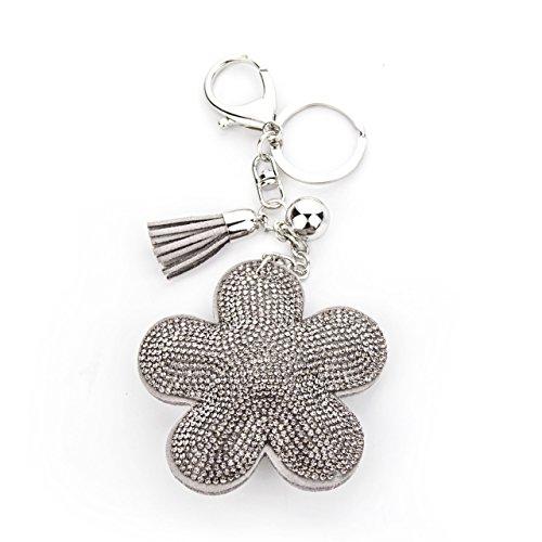 MANUMAR Schlüsselanhänger Handtaschen Dekoration in Blume Motiv aus glitzernden Strass Steinen mit Kordel und Fransen Geschenkidee