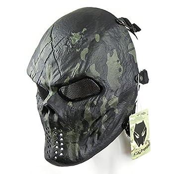 ATAIRSOFT Airsoft Paintball Hockey Cosplay Metal Mesh Eye BB Protect Full Face Mask Black MCBK